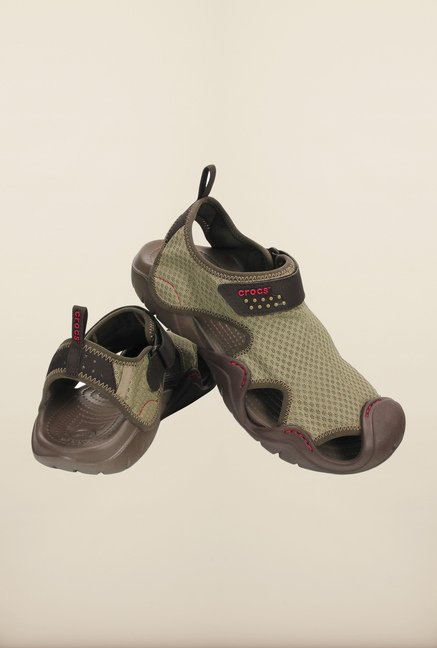 Crocs Swiftwater Khaki & Walnut Floater Sandals