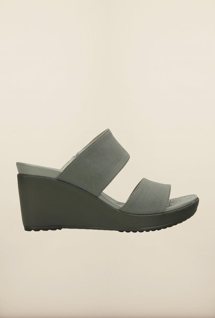 Crocs Leigh II Silver & Graphite Wedges