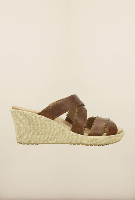 Crocs Leigh Crisscross Hazelnut Wedges