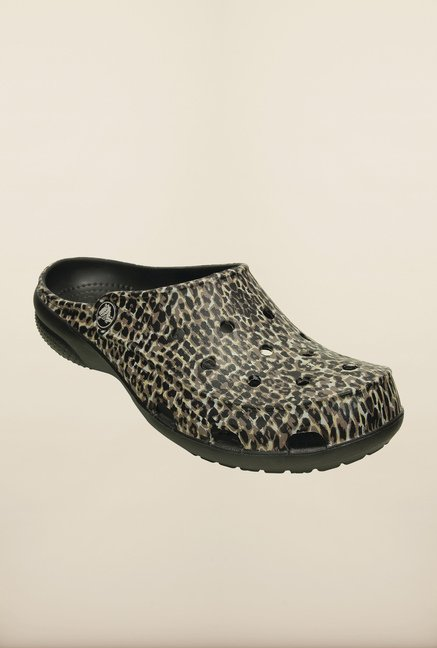 Crocs Freesail Animal Print Black & Brown Mules