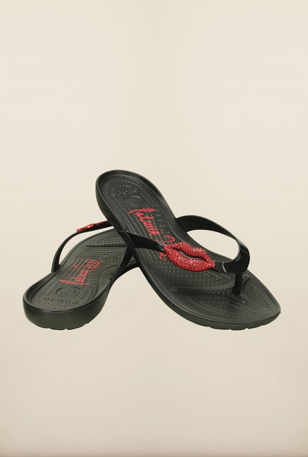 Crocs Really Sexi Lips Black Flip Flops