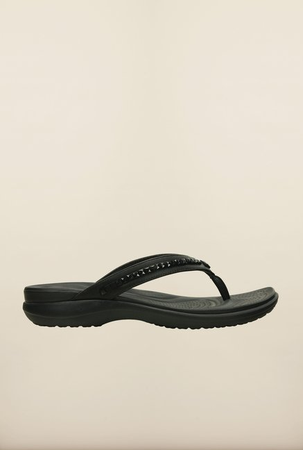 Crocs Capri V Beaded Black Flip Flops