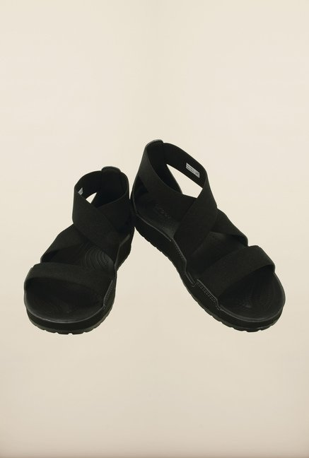 Crocs Anna Black Cross Strap Sandals