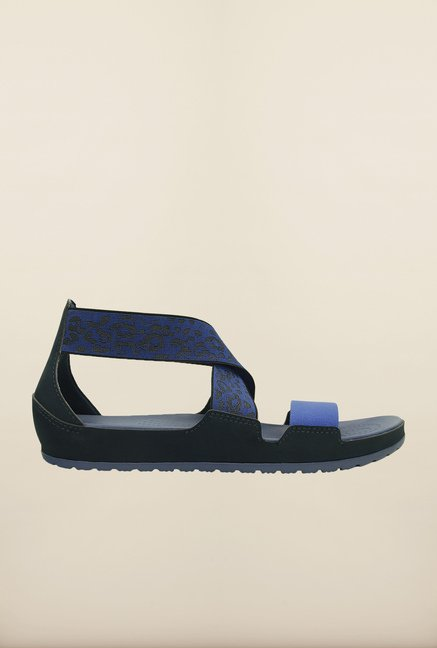 Crocs Anna Navy & Bijou Blue Cross Strap Sandals