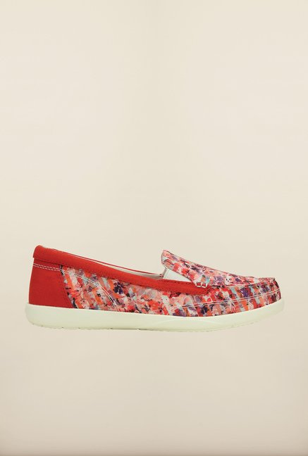 Crocs Walu II Striped Floral Red & White Loafers