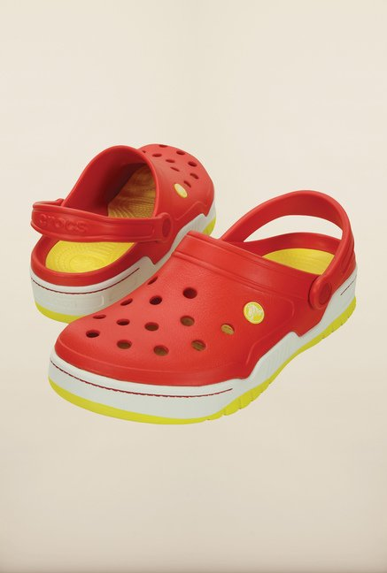 Crocs Front Court Flame Red & White Clogs
