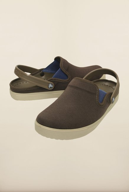 Crocs CitiLane Canvas Espresso & Cobblestone Clogs