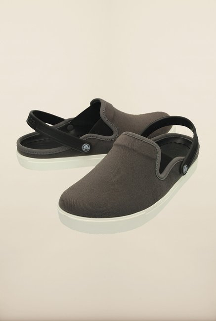 Crocs CitiLane Canvas Graphite & White Clogs