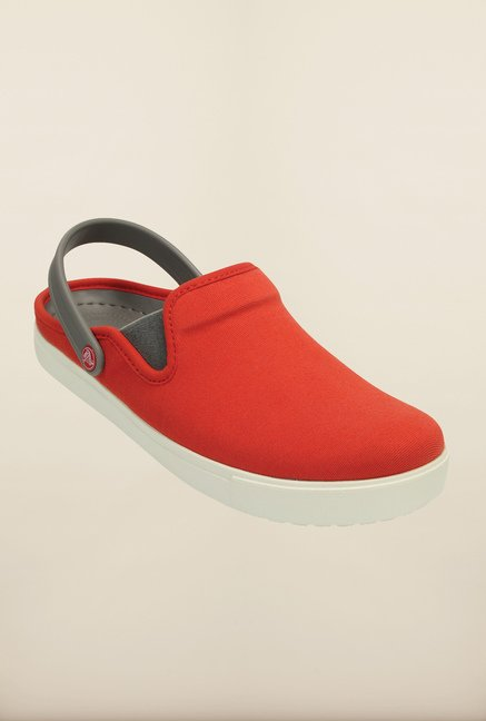 Crocs CitiLane Canvas Flame Red & White Clogs