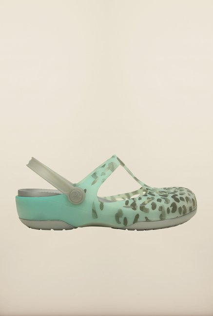 Crocs Carlie Leopard Sea Blue & Silver Clogs