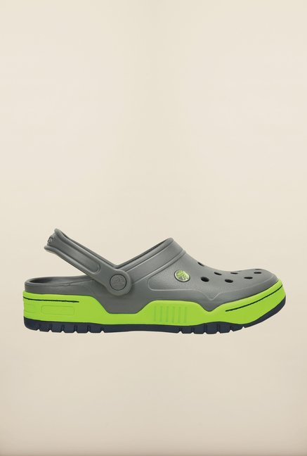 Crocs Front Court Charcoal Grey & Green Clogs