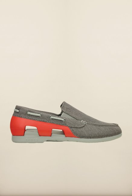 Crocs Beach Line Graphite & Red Loafers