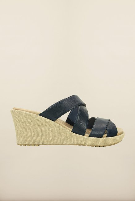 Crocs Leigh Crisscross Nautical Navy Wedges