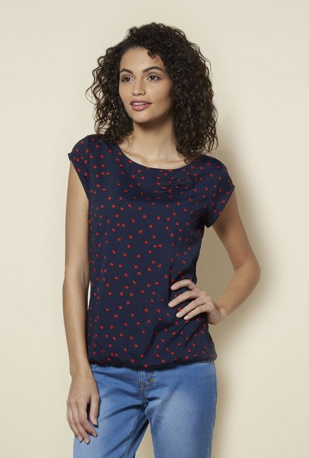 Zudio Navy Natty Printed Blouse