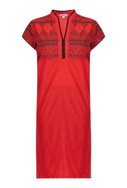 Zudio Red Printed Cotton Kurti