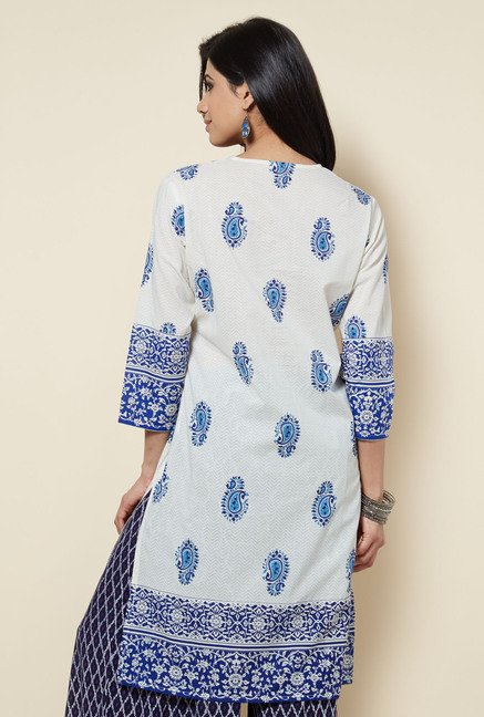Zudio White Cotton Printed Kurta