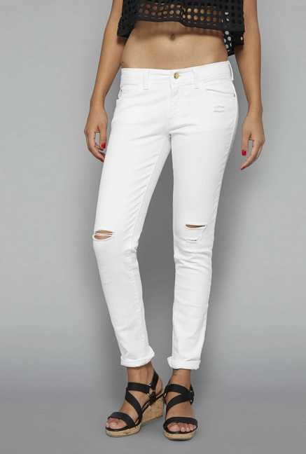 Nuon White Distressed Jeans