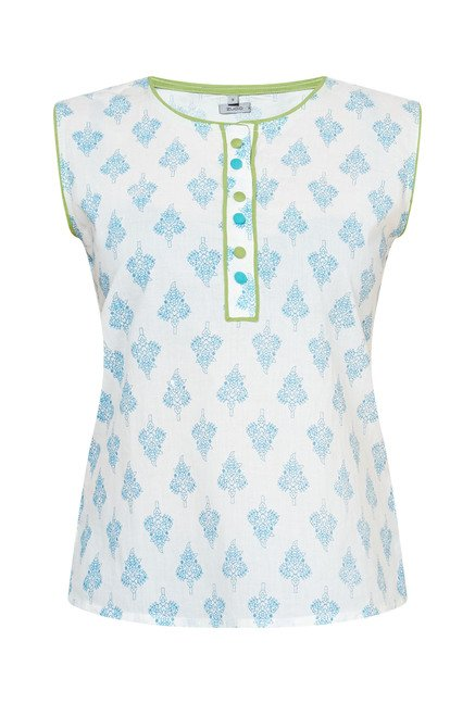 Zudio White Printed Top