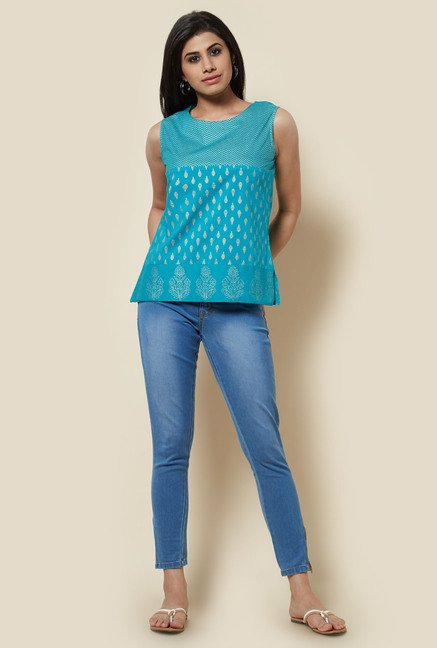 Zudio Teal Printed Top
