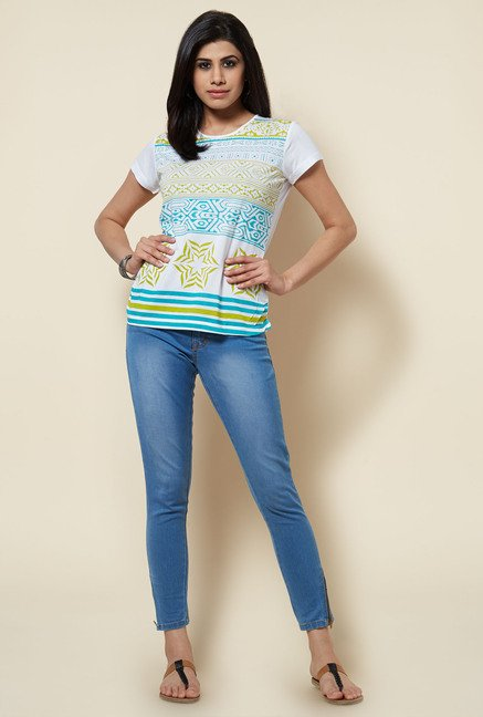 Zudio White Printed Slim Fit Top