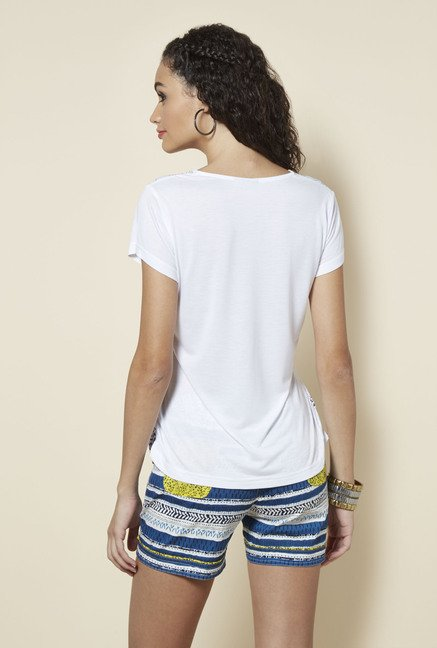 Zudio White Slim Fit Printed Top
