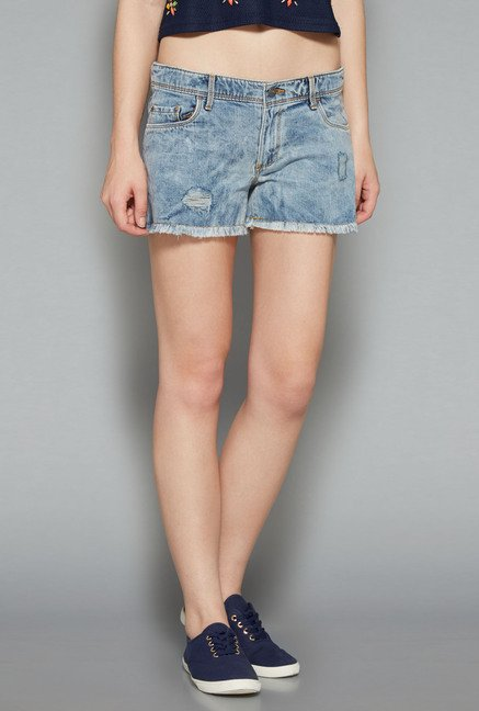 Nuon by Westside Ice Blue Stretch Shorts