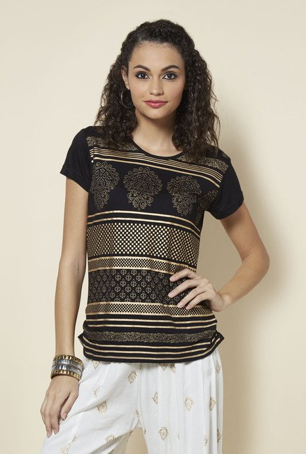 Zudio Black Printed Top