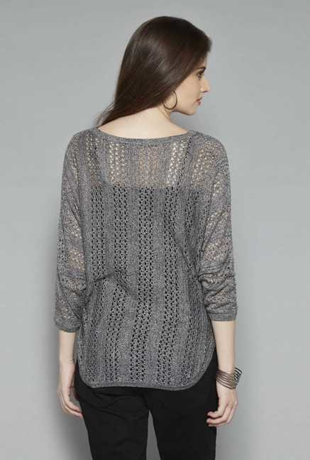 LOV Grey Lorrina Top