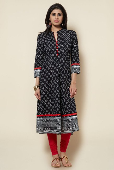 Zudio Black Printed Cotton Kurta