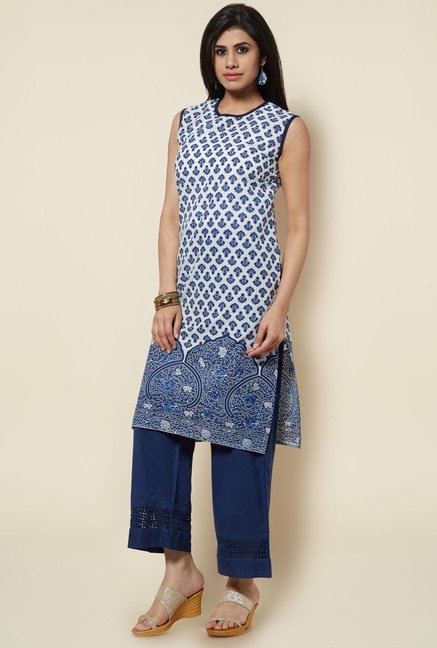 Zudio Navy Printed Cotton Kurta