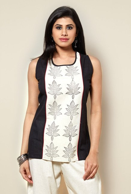 Zudio Off White & Black Floral Printed Kurti
