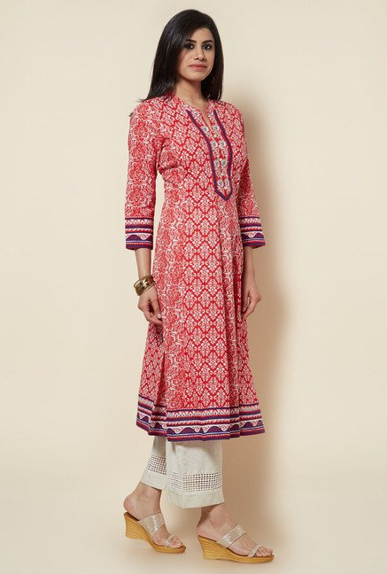 Zudio Red Printed Kurta