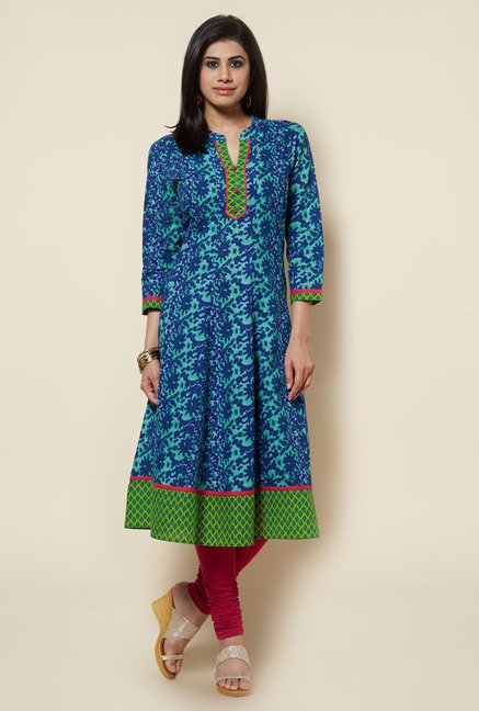 Zudio Navy Printed Kurta