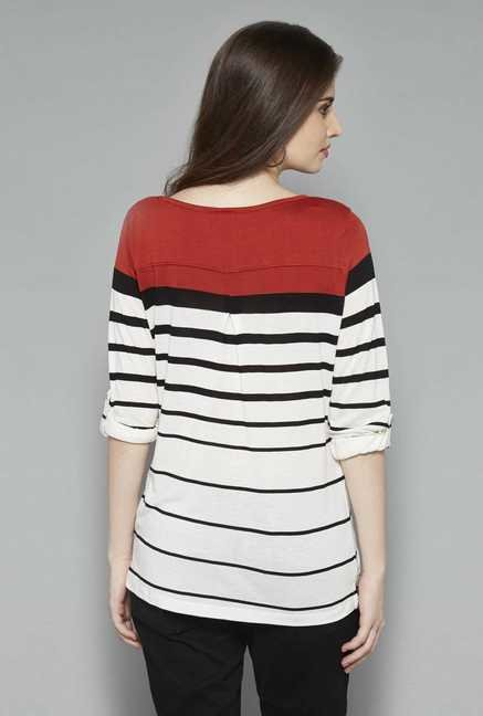 LOV White Scarlet Striped Top