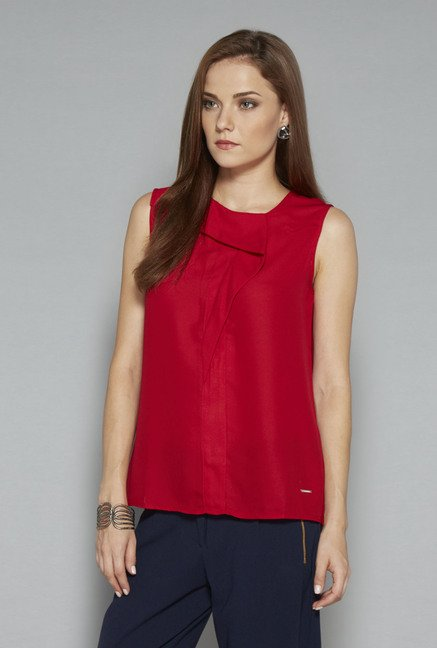 Wardrobe Red Solid Blouse