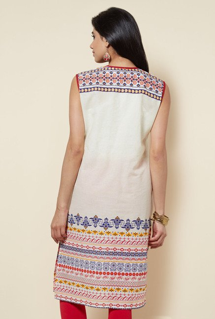 Zudio Off White Printed Cotton Kurti