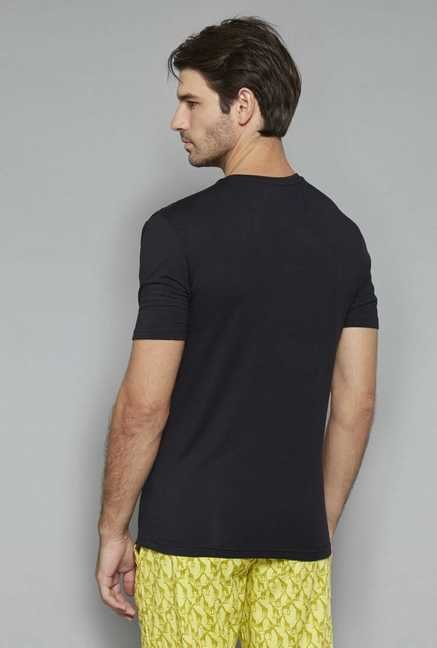Bodybasics Black Solid T Shirt