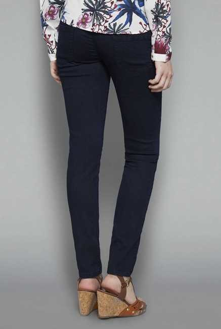 LOV Dark Blue Solid Jeggings