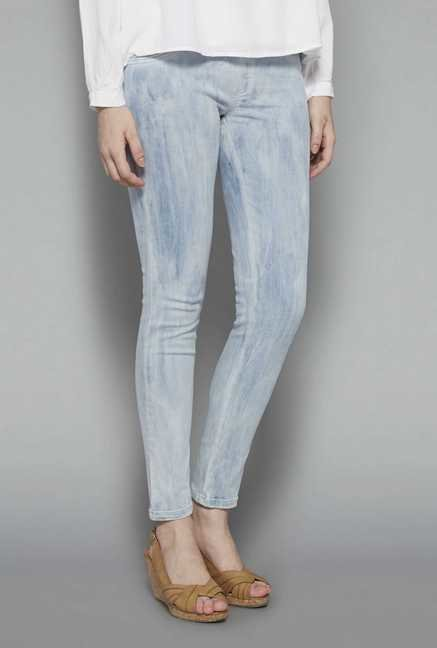 LOV Light Blue Solid Jeggings