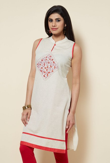 Zudio Off White Cotton Kurti
