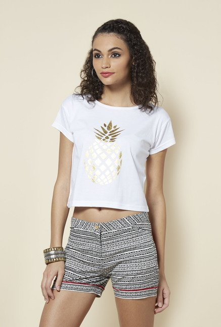Zudio White Printed Cotton T Shirt