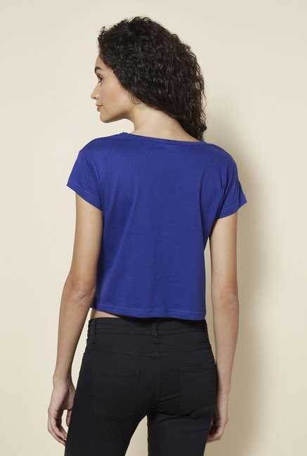 Zudio Blue Printed Cotton T Shirt