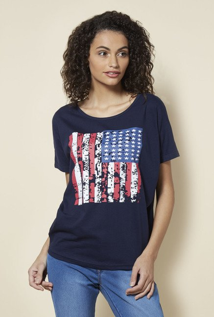 Zudio Navy Pansy T Shirt