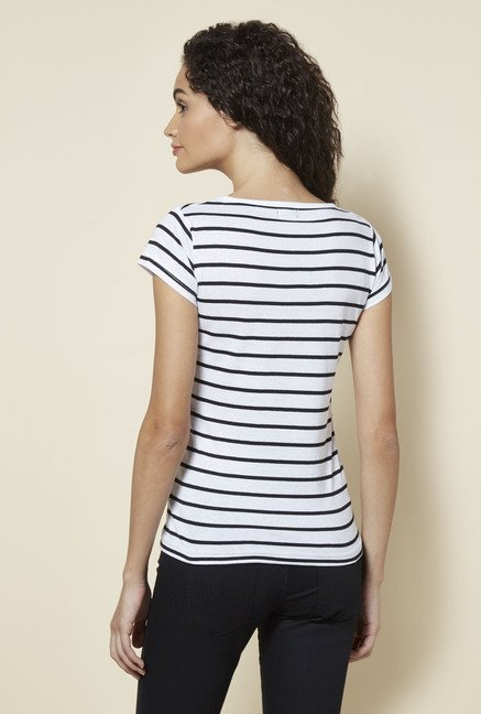 Zudio White Striped T Shirt