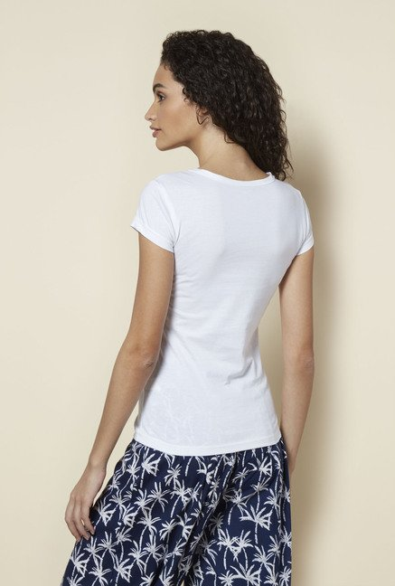 Zudio White Cotton Printed T Shirt