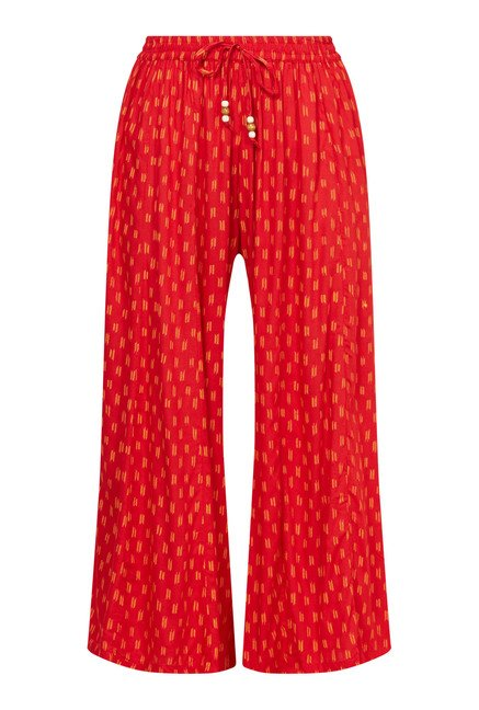 Zudio Red Printed Mid Rise Palazzos