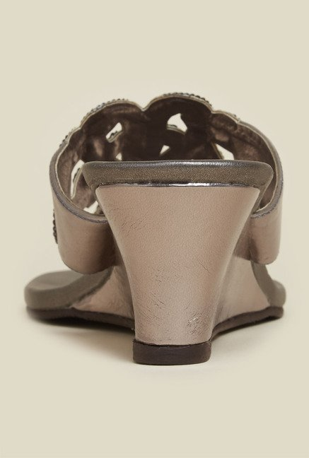 Mochi Gun Metal Wedge Heel Sandals
