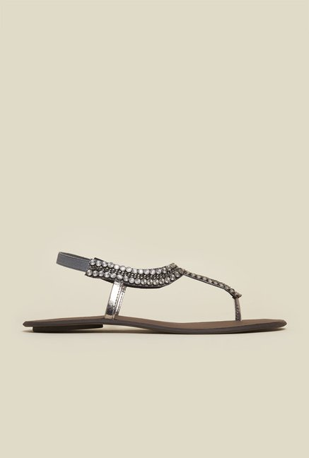 Mochi Gun Metal Flat Ethnic Sandals