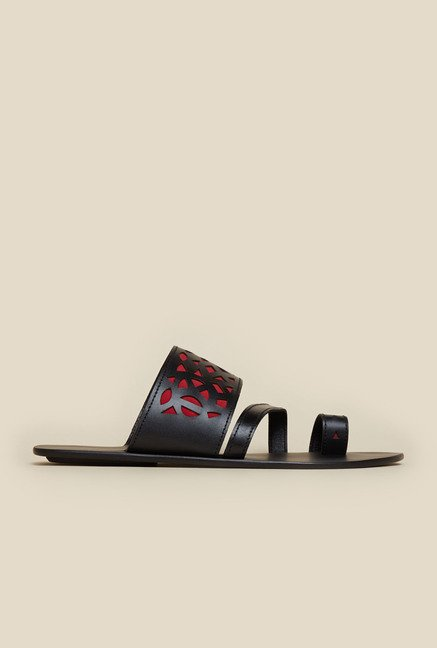 Mochi Black & Red Leather Sandals