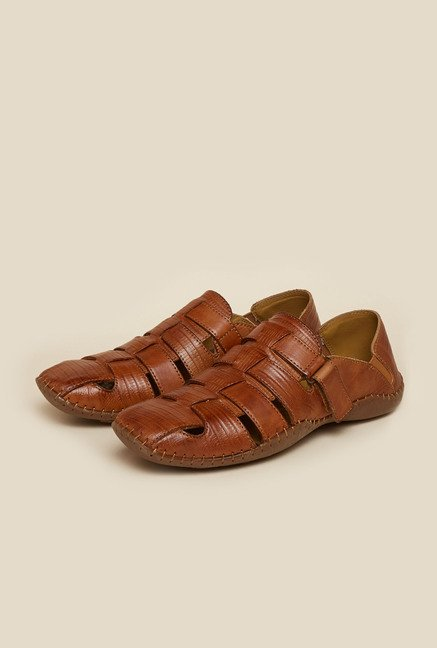 J. Fontini by Mochi Tan Leather Fisherman Sandals